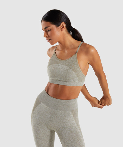 Gymshark Flex Strappy Sports Bra - Washed Khaki Marl/Blush Nude 2