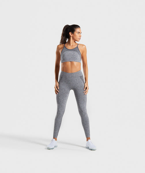 Gymshark Flex Strappy Sports Bra - Grey/Pink 3