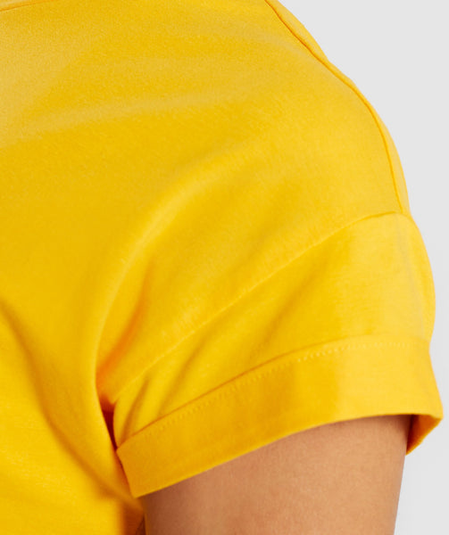 Gymshark Fraction Crop Top - Citrus Yellow/White 4
