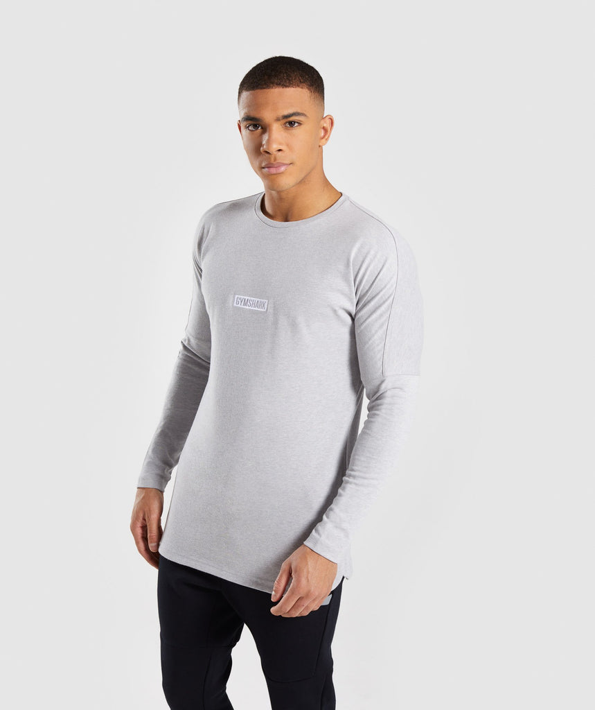Gymshark Fresh Long Sleeve T-Shirt - Light Grey Marl 1