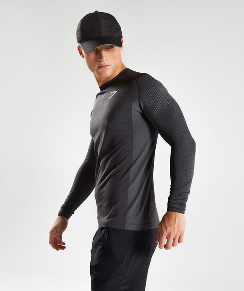 Gymshark Ghost Long Sleeve T-Shirt - Black Marl 2