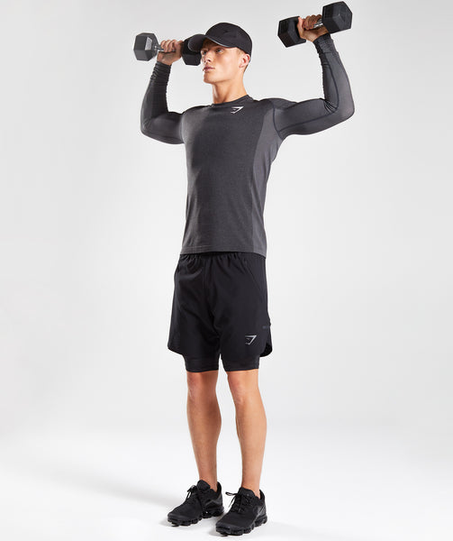 Gymshark Ghost Long Sleeve T-Shirt - Black Marl 3