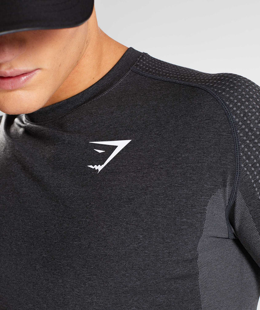Gymshark Ghost Long Sleeve T-Shirt - Black Marl 6