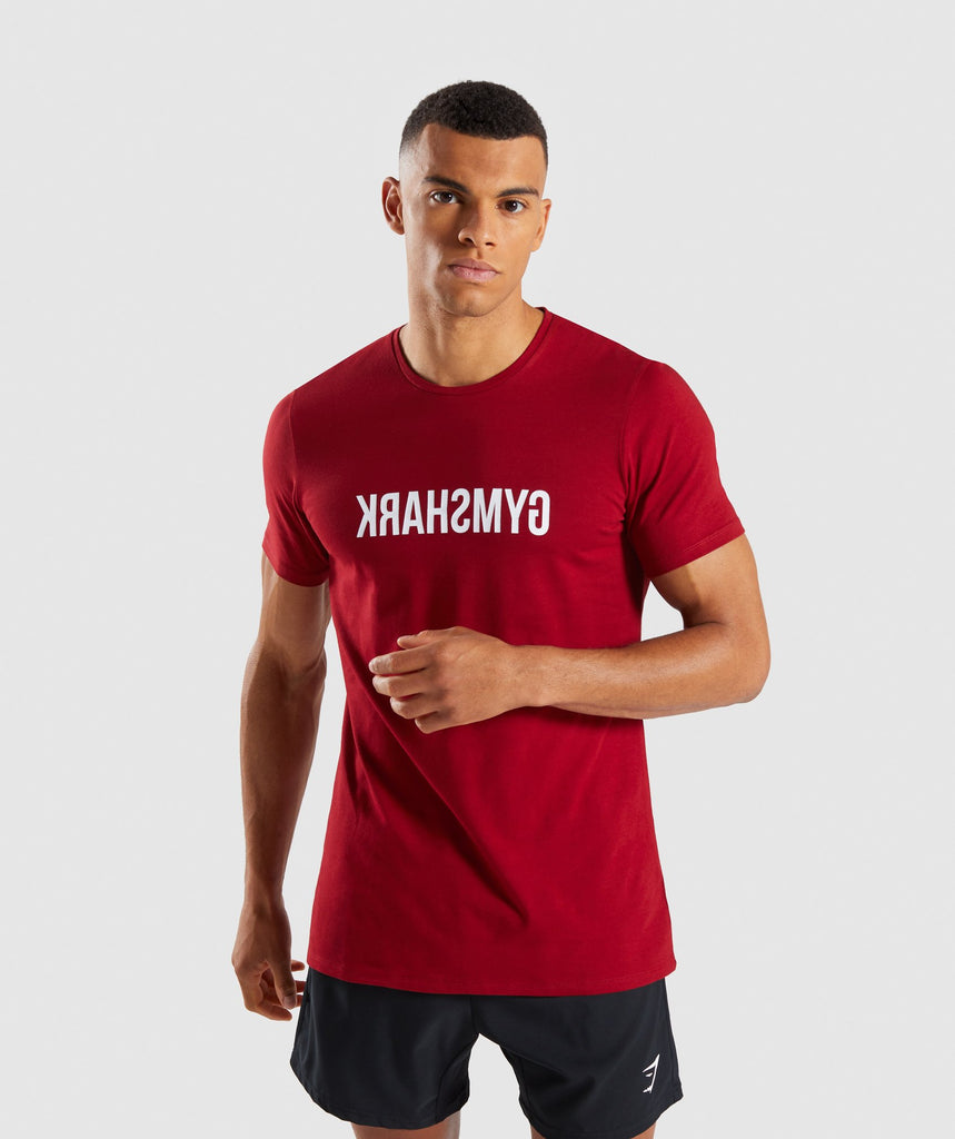 Gymshark Reverse T-Shirt - Full Red 1