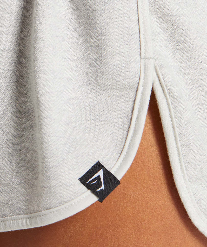 Gymshark Heather Dual Band Shorts - Light Grey Marl 5