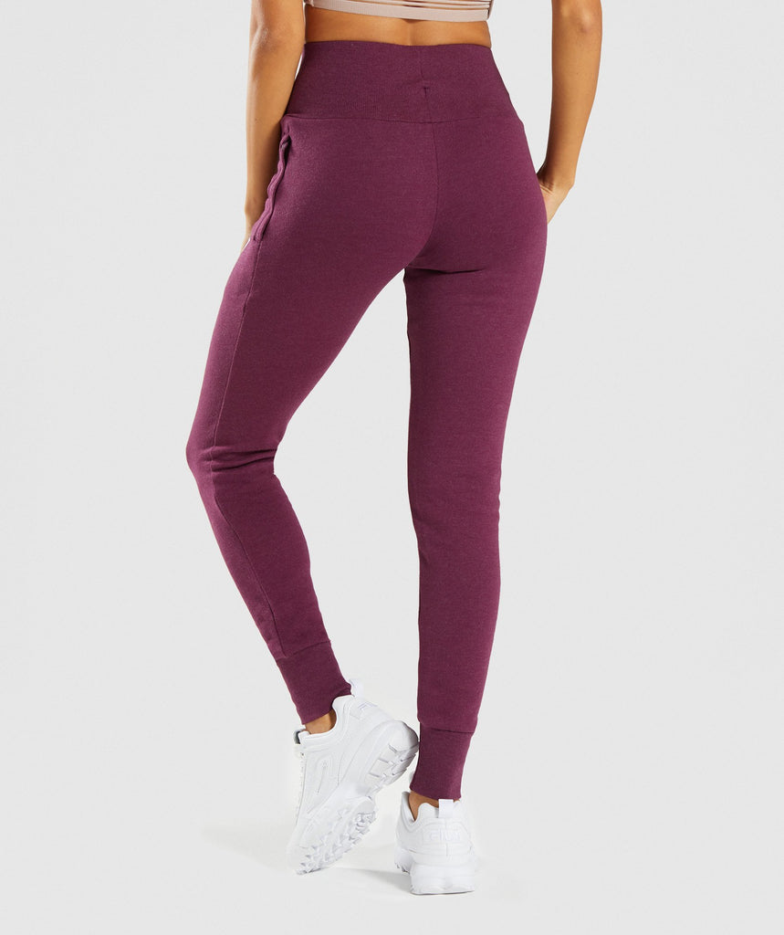 Gymshark High Waisted Joggers - Dark Ruby Marl 2