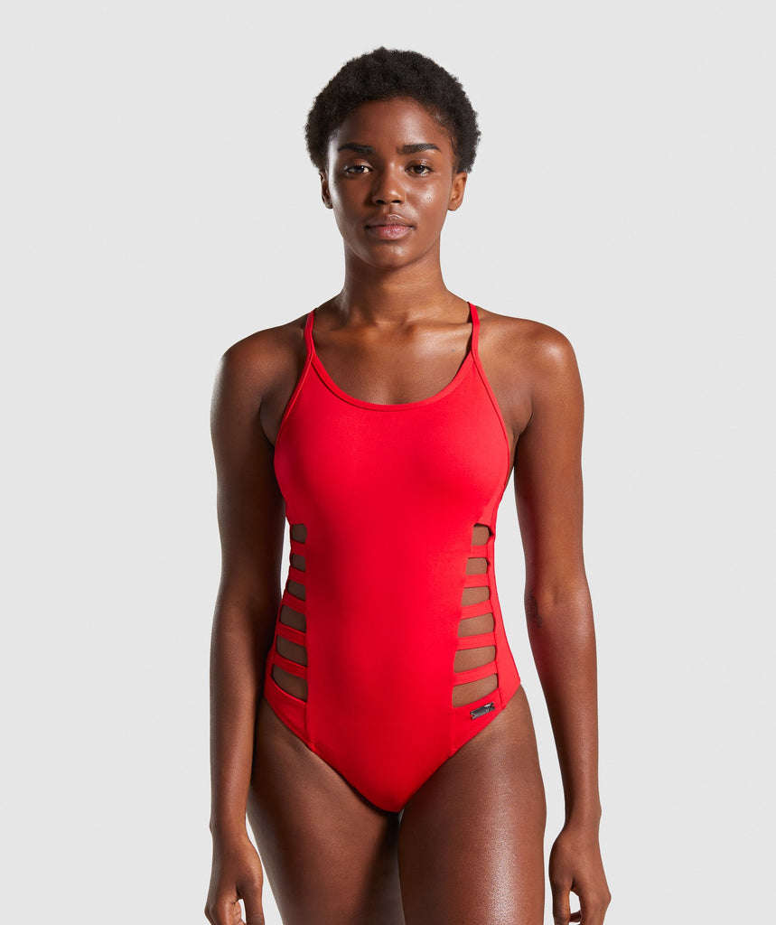 Gymshark Horizon Swimsuit - Red 1