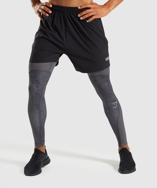 Gymshark Hybrid Baselayer Leggings - Charcoal Marl 2