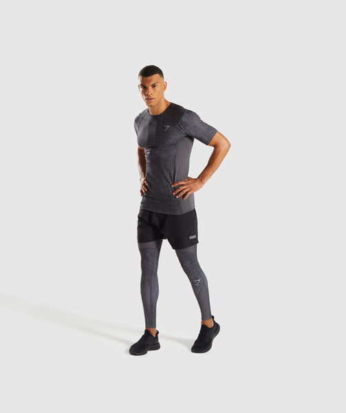 Gymshark Hybrid Baselayer Leggings - Charcoal Marl 3