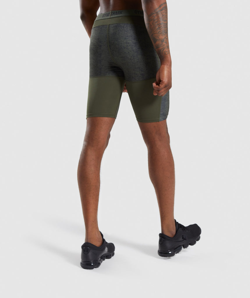 Gymshark Hybrid Baselayer Shorts - Woodland Green Marl 2