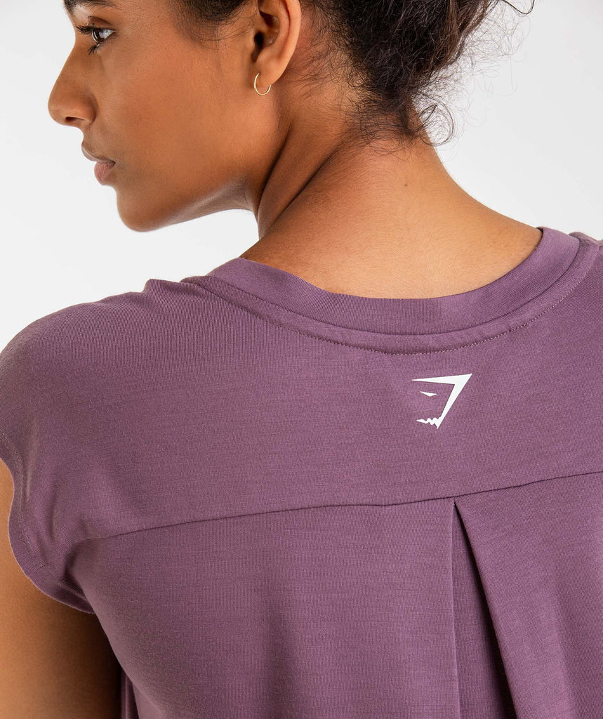 Gymshark Pleat Back Tee - Purple Wash 6