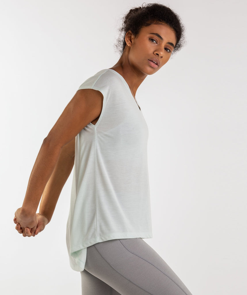 Gymshark Pleat Back Tee - Sea Foam Green 1