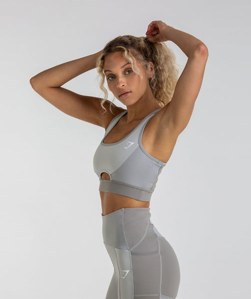 Gymshark Tonal Block Sports Bra - Light Grey 4