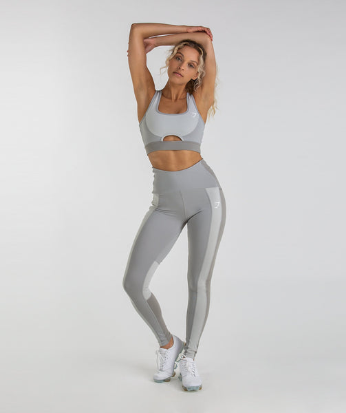 Gymshark Tonal Block Sports Bra - Light Grey 2