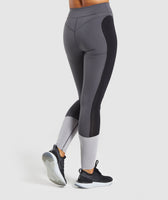 Gymshark Illusion Leggings - Black/Charcoal/Light Grey 8