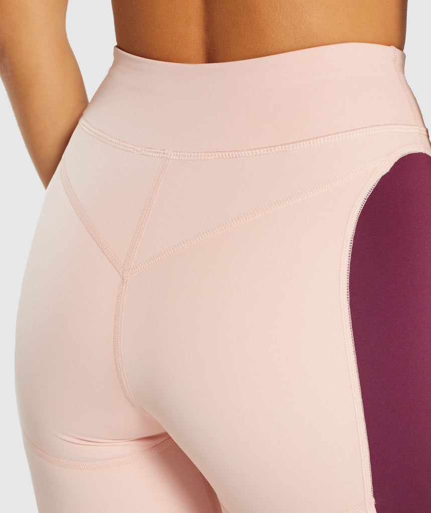 Gymshark Illusion Leggings - Dark Ruby/Blush Nude/Slate Lavender 6
