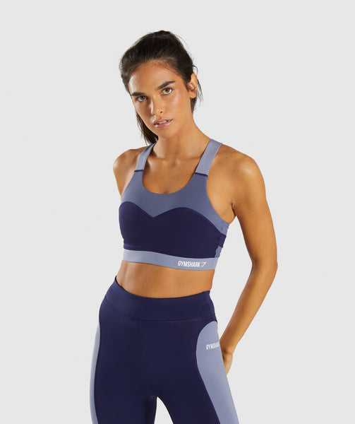 Gymshark Illusion Sports Bra - Evening Navy Blue/Steel Blue/Night Shadow Blue 4