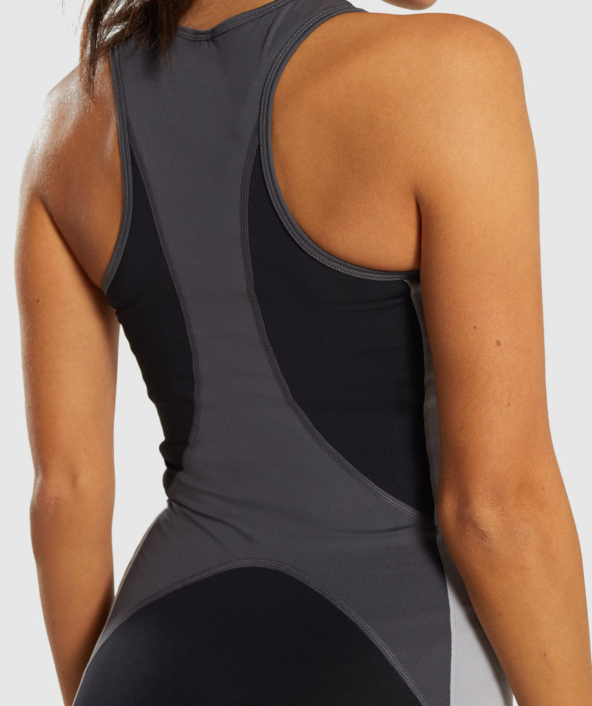 Gymshark Illusion Vest - Black/Charcoal/Light Grey 5