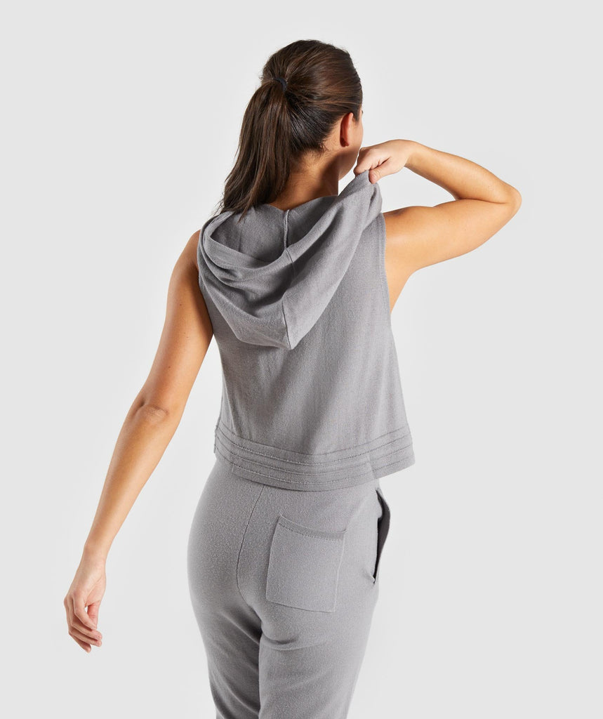 Gymshark Isla Knit Sleeveless Hoodie - Light Grey 2