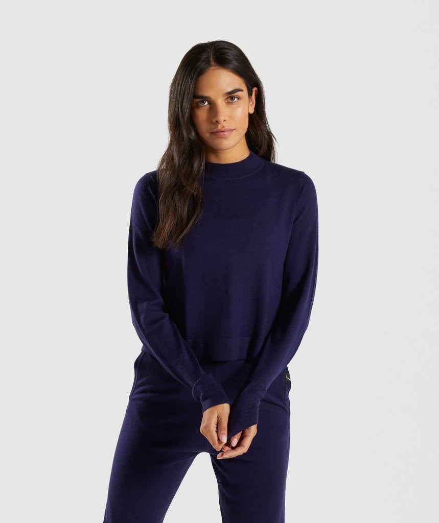 Gymshark Isla Knit Sweater - Evening Navy Blue 1