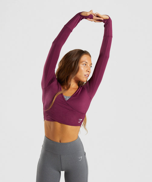Gymshark Long Sleeve Ballet Crop Top - Dark Ruby 4