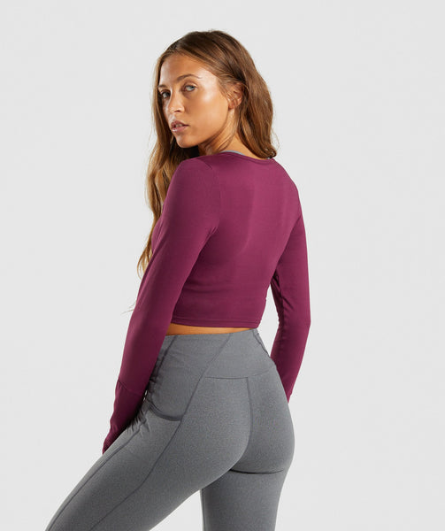 Gymshark Long Sleeve Ballet Crop Top - Dark Ruby 1
