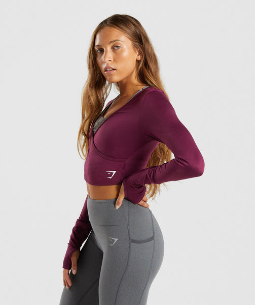 Gymshark Long Sleeve Ballet Crop Top - Dark Ruby 2