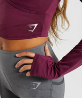 Gymshark Long Sleeve Ballet Crop Top - Dark Ruby 11