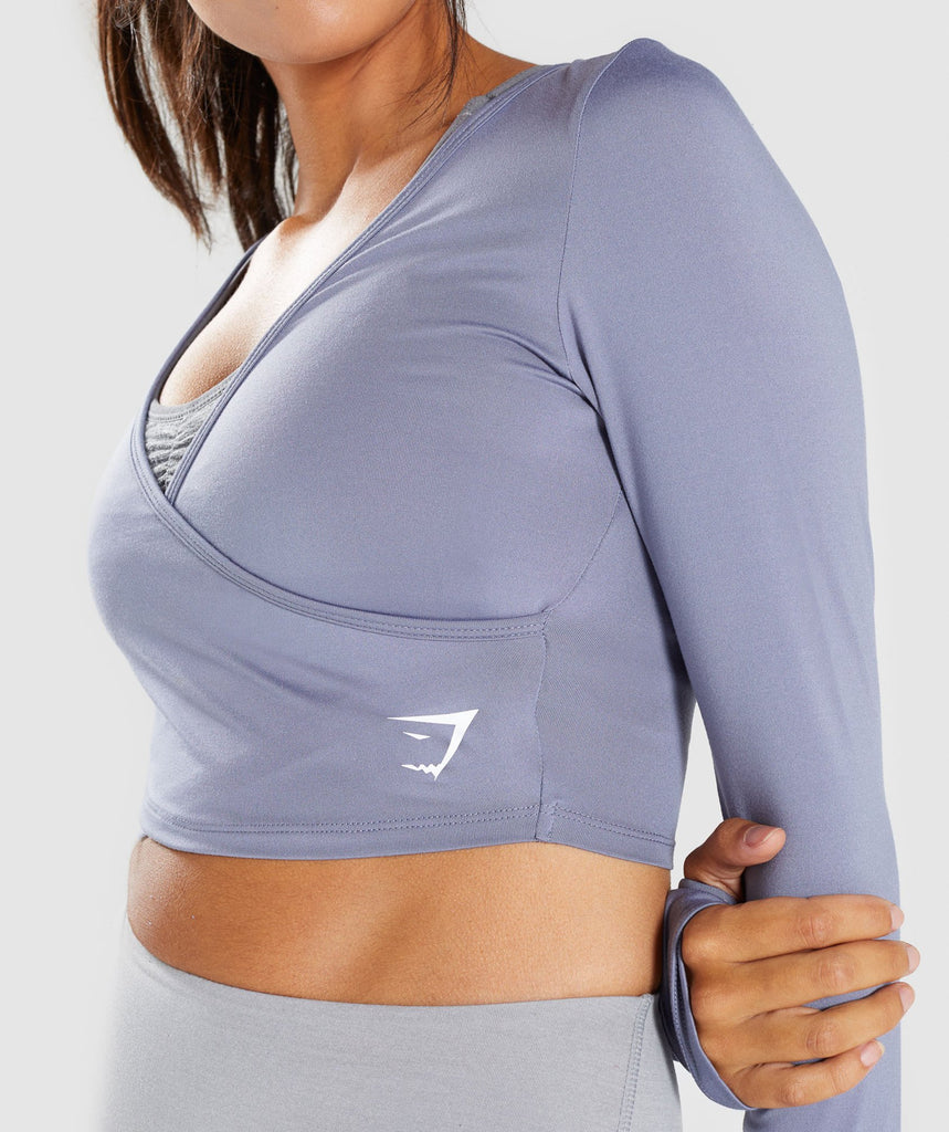 Gymshark Long Sleeve Ballet Crop Top - Steel Blue 6