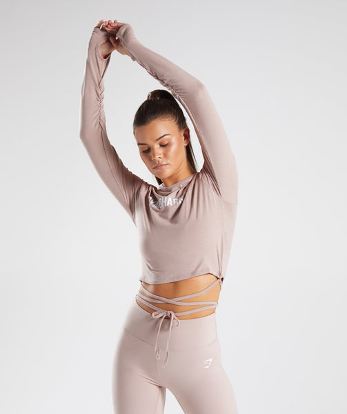 Gymshark Long Sleeve Ribbon Crop Top - Taupe 2