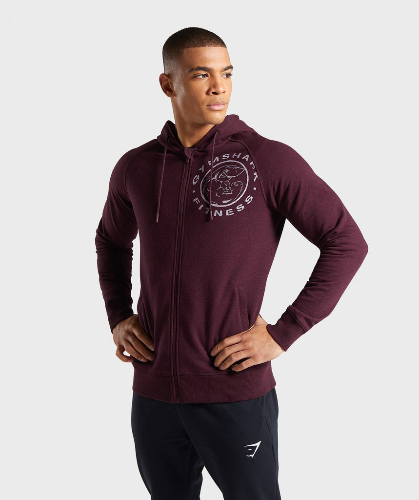 Gymshark Legacy Plus Zip Hoodie - Dark Red 1