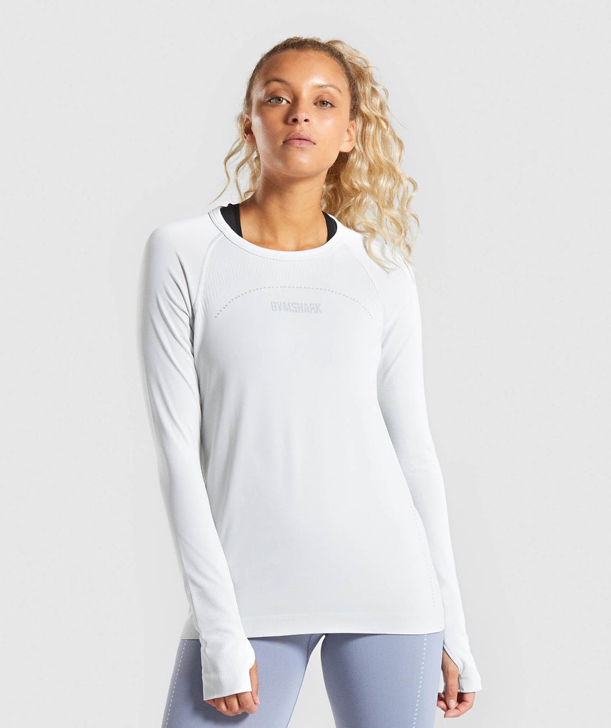 Gymshark Lightweight Seamless Long Sleeve Top - Light Grey 1