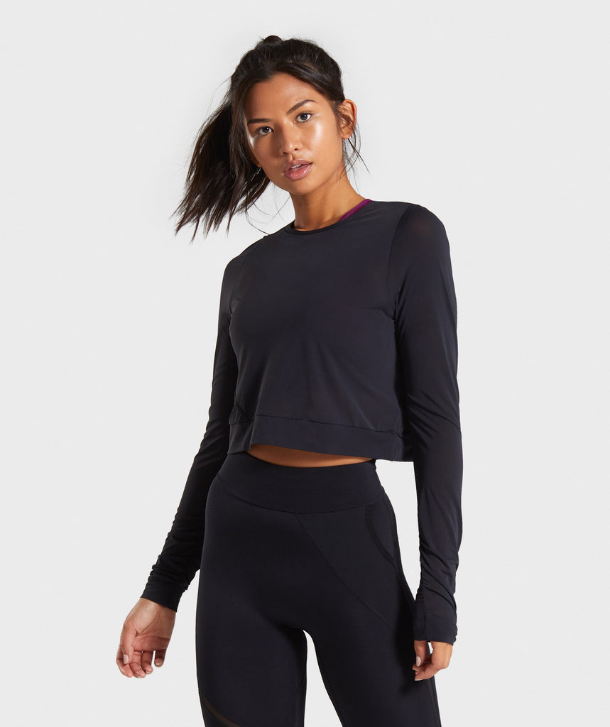 Gymshark Mesh Layer Long Sleeve Top - Black 1
