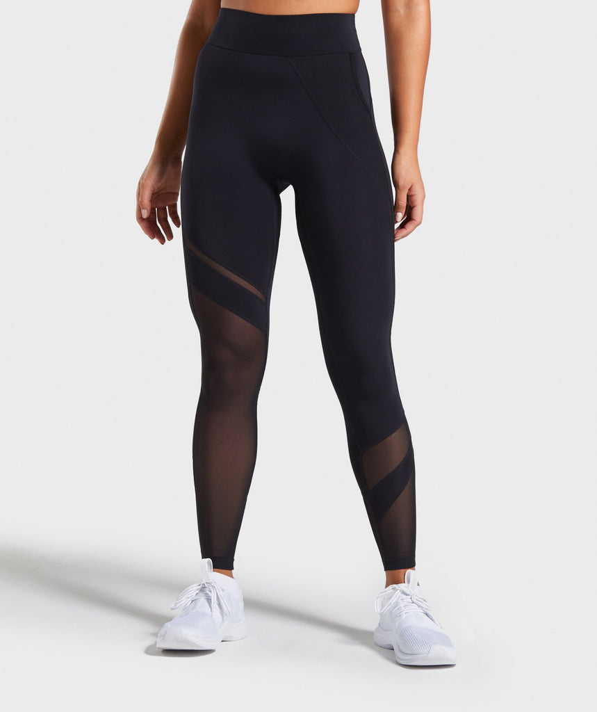 Gymshark Mesh Layer Leggings - Black 1