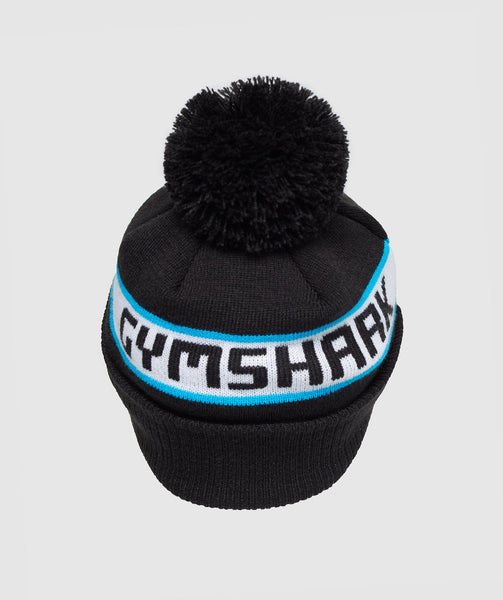 Gymshark New Era Bobble Beanie - Black/Gymshark Blue 1