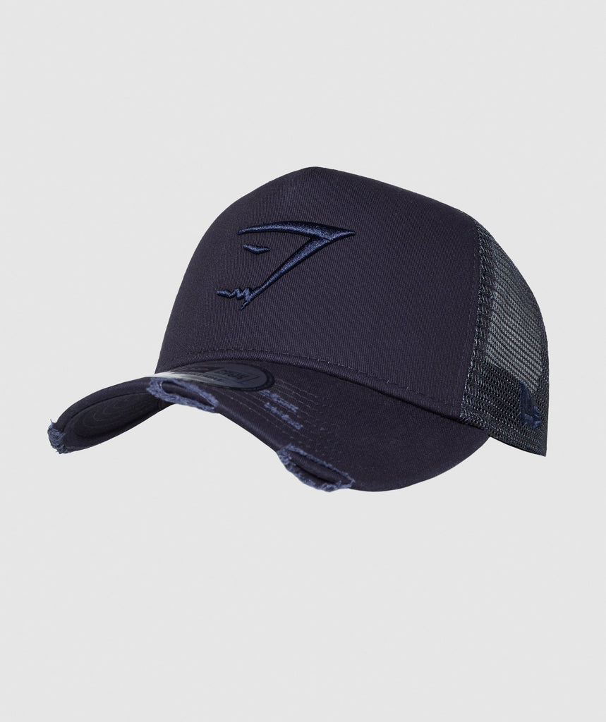 Gymshark New Era Distressed Trucker - Blue 1