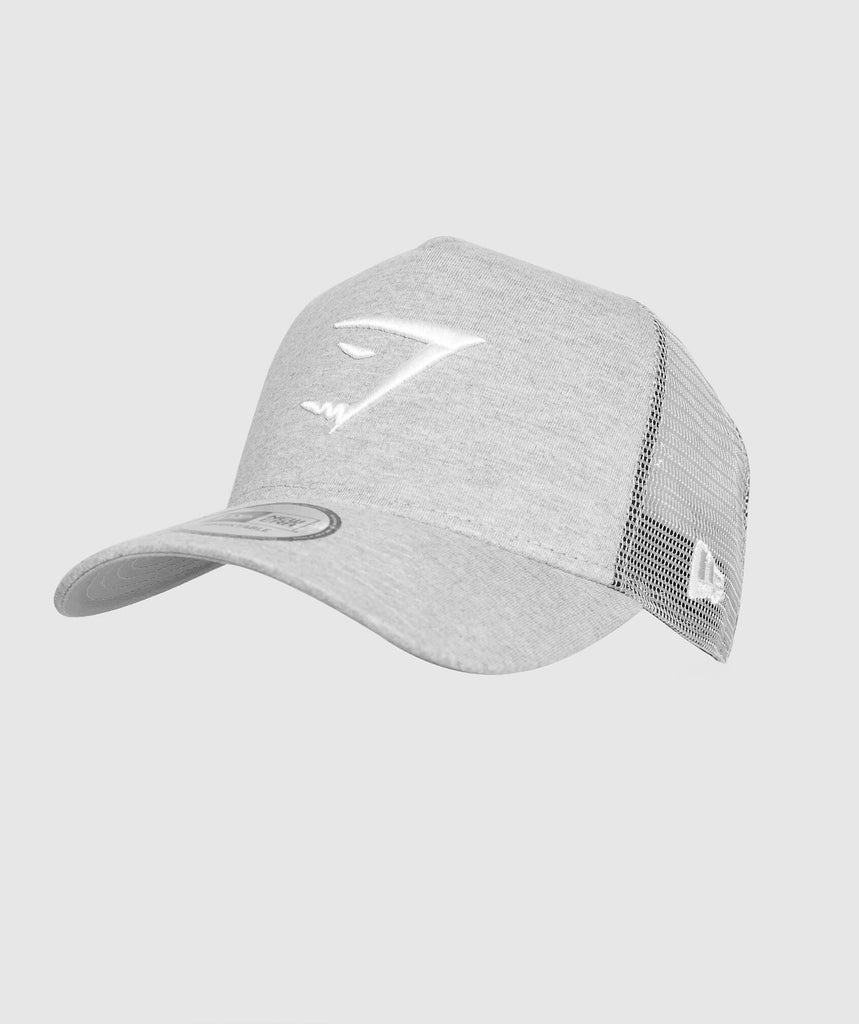 Gymshark New Era Mesh Trucker - Grey Marl/White 1