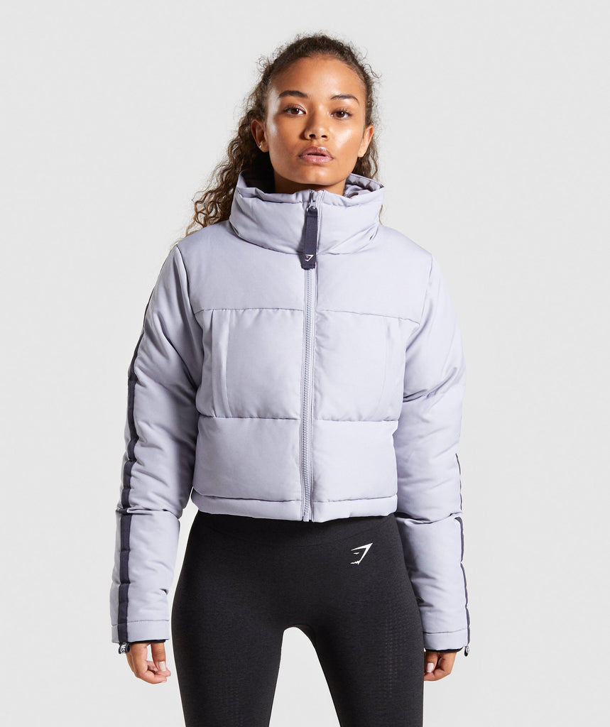 Gymshark Oversized Puffer Jacket - Lilac Grey/Dark Blue 1