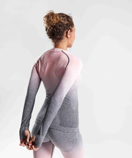 Gymshark Ombre Seamless Long Sleeve Top - Peach Pink/Charcoal 1