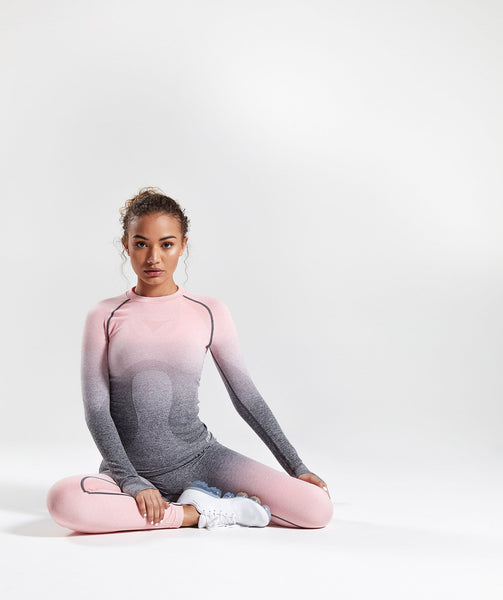 Gymshark Ombre Seamless Long Sleeve Top - Peach Pink/Charcoal 2