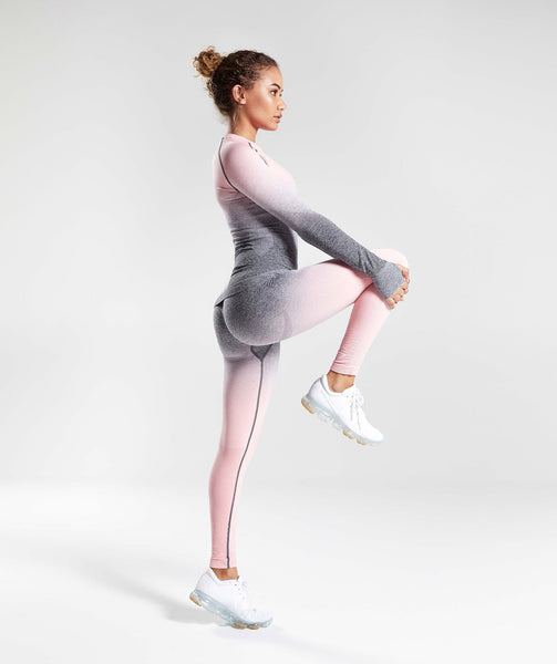 Gymshark Ombre Seamless Long Sleeve Top - Peach Pink/Charcoal 3