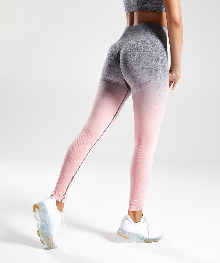 Gymshark Ombre Seamless Leggings - Peach Pink/Charcoal 2