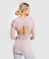Gymshark Open Cross Back Long Sleeve - Taupe 8