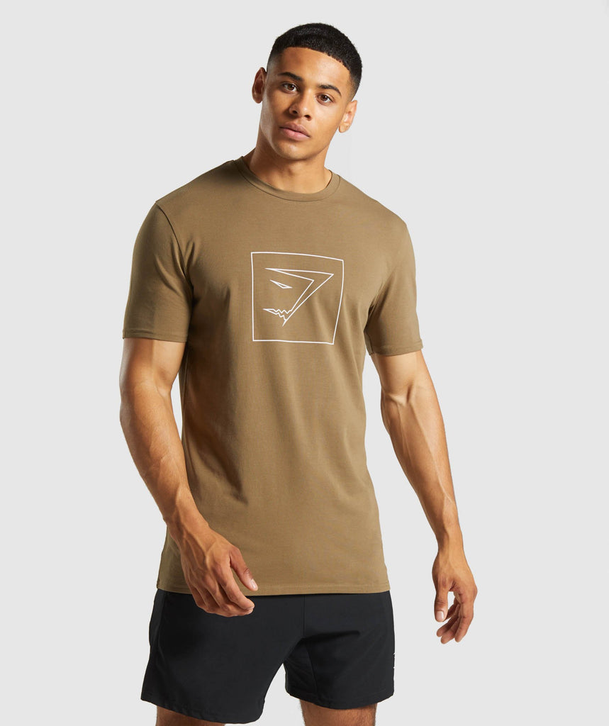 Gymshark Outline T-Shirt - Khaki 1