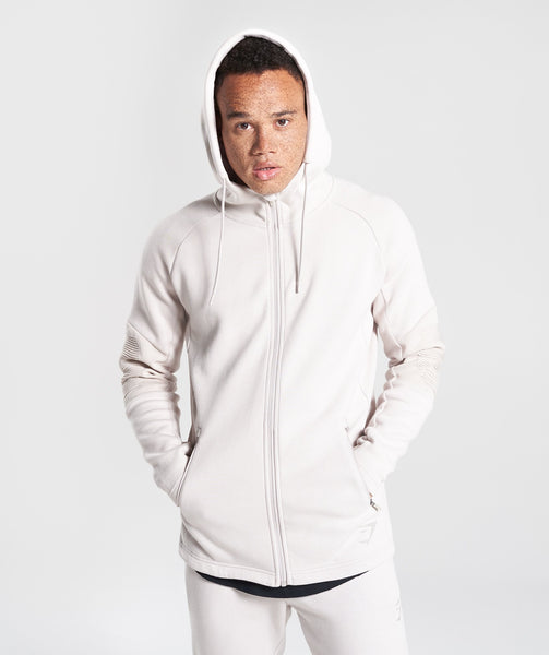 Gymshark Ozone Zip Up Hoodie - Washed Beige 4