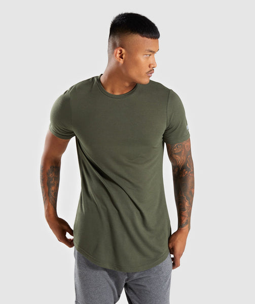 Gymshark Perforated Longline T-Shirt - Woodland Green 2