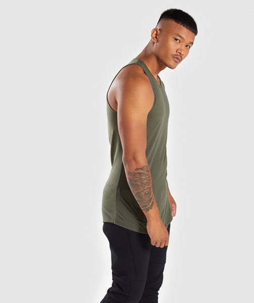 Gymshark Perforated Longline Tank - Woodland Green 2