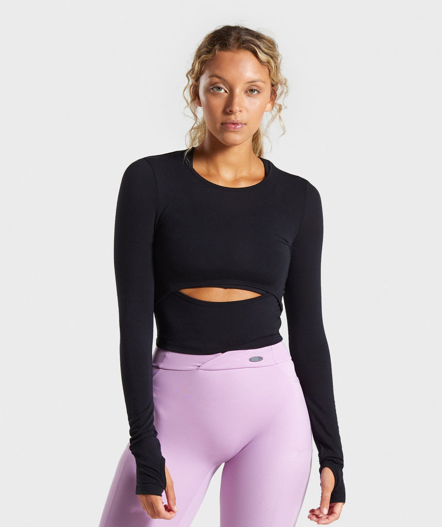 Gymshark Poise Long Sleeve Crop Top - Black 1