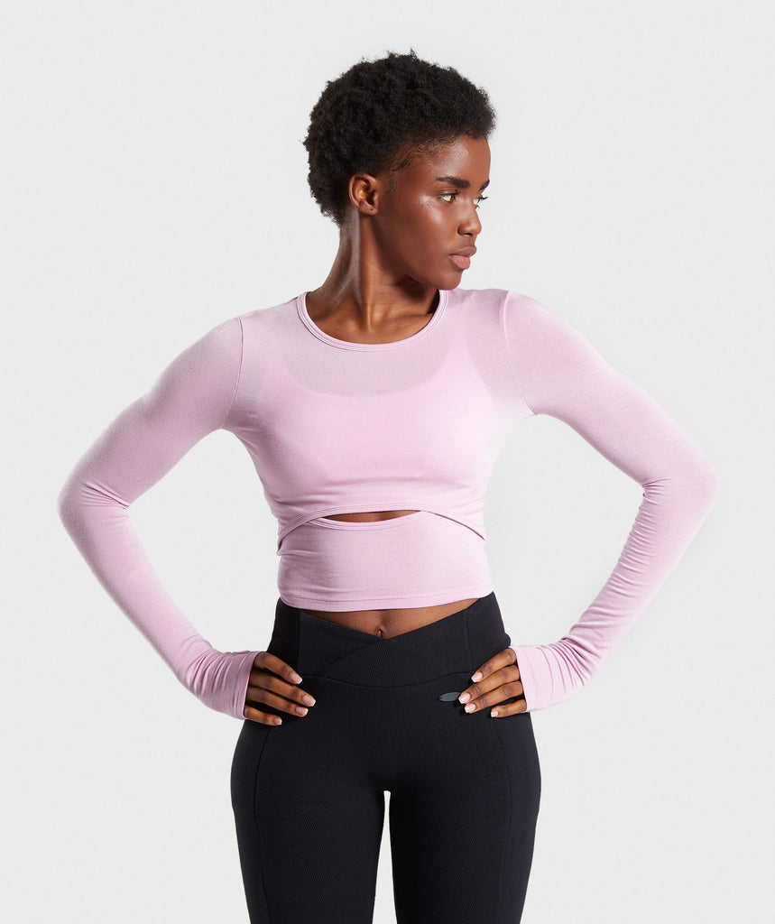 Gymshark Poise Long Sleeve Crop Top - Pink 1