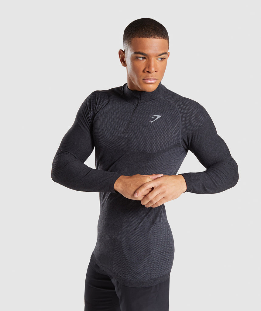 Gymshark Premium Seamless 1/4 Zip Pullover- Charcoal Marl 1